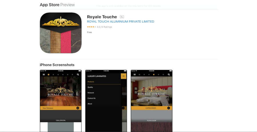 Royal Touche App Store
